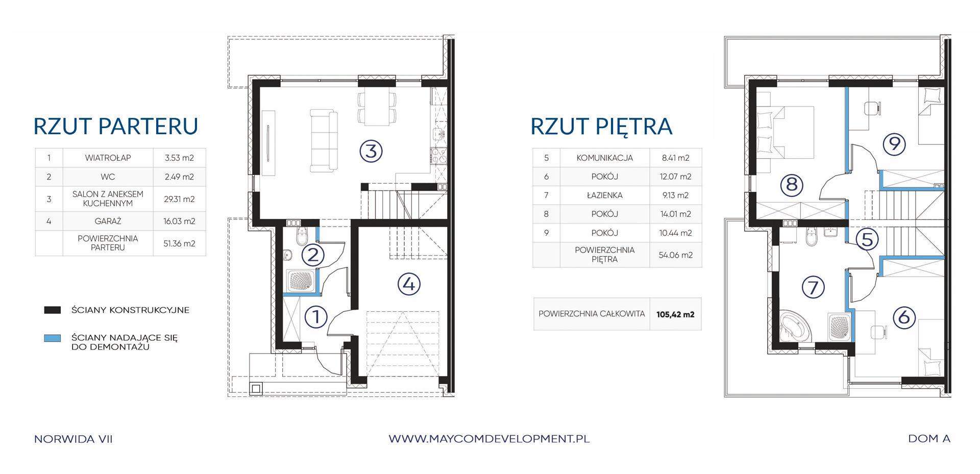 Dom A parter i piętro - NORWIDA VII