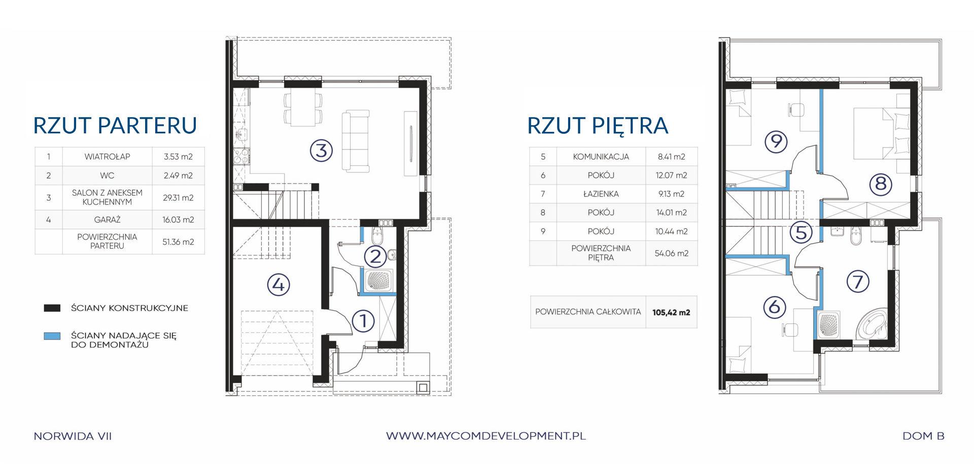 Dom B parter i piętro - NORWIDA VII